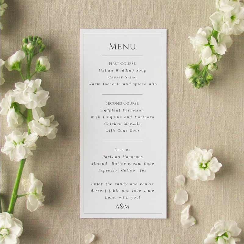 Coronado Wedding Menu