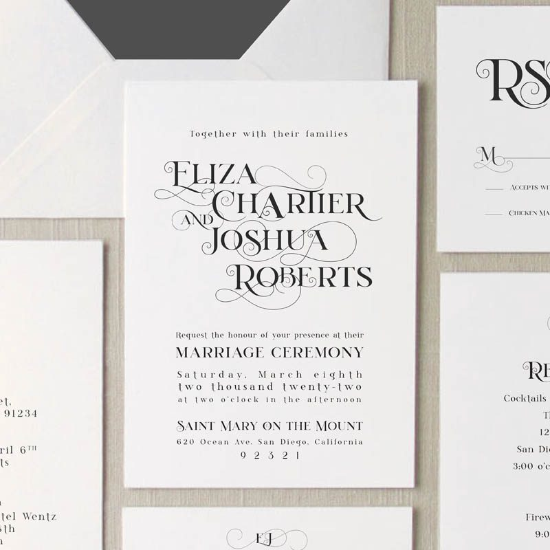 Close up of the Amore wedding invitation