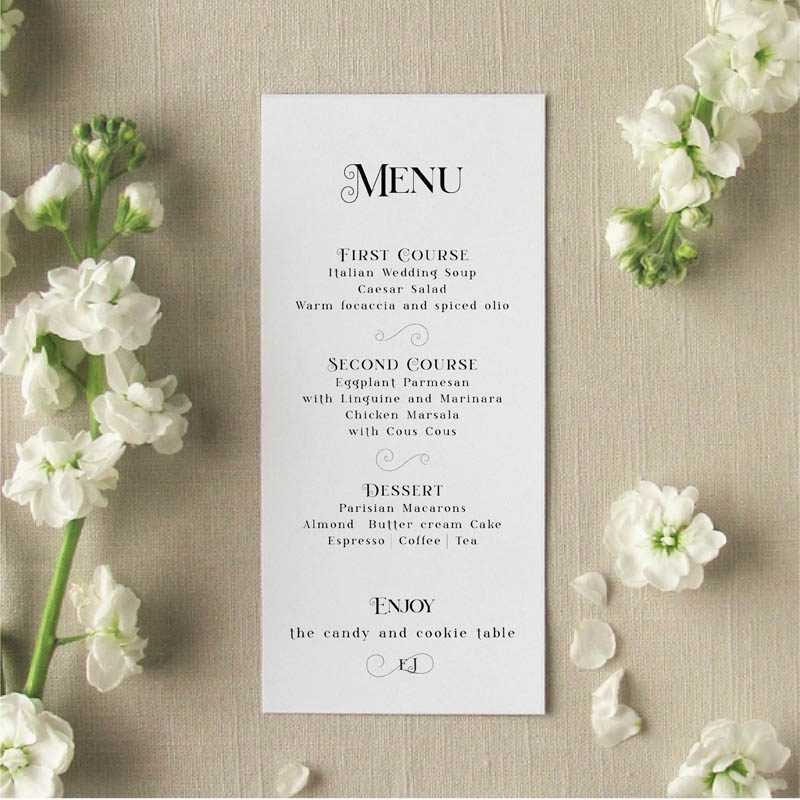 Amore Dinner Menu for Wedding Guests
