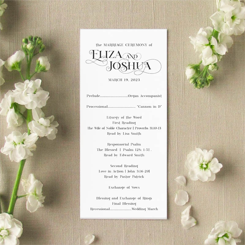 Amore Slim Card Wedding Program