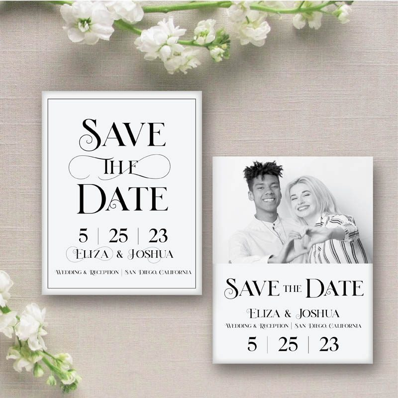 Wedding Save the Date with Modern Typography