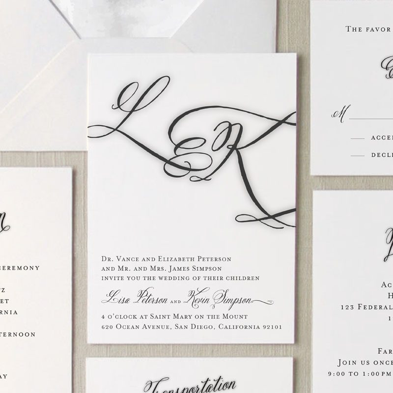 Brushed monogram wedding invitation suite