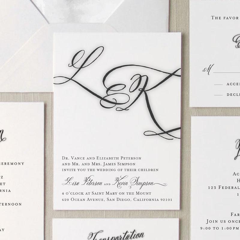 Brushed monogram wedding invitation suite