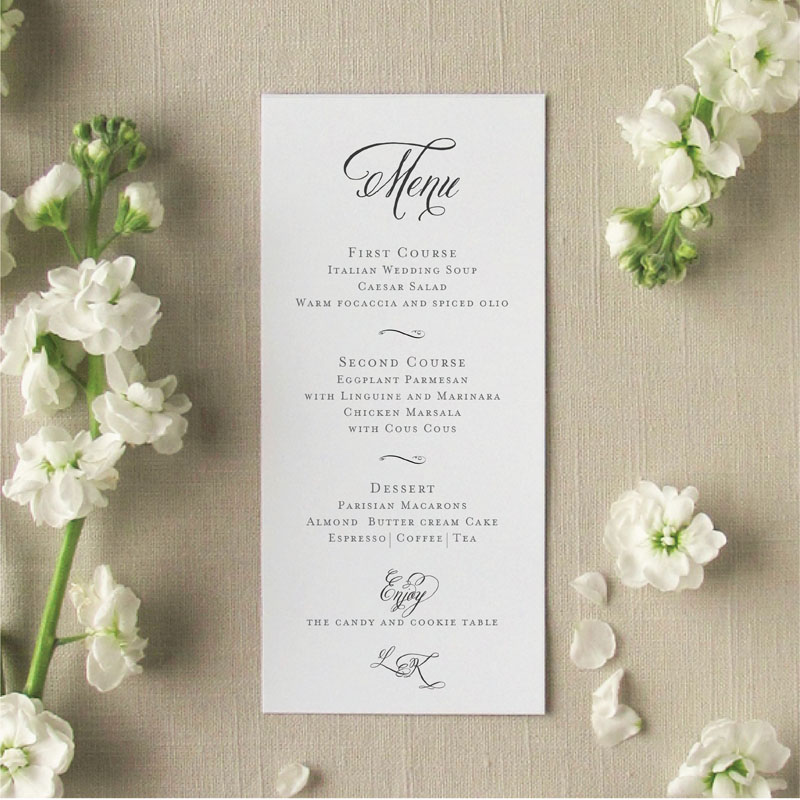 Brushed Monogram Menu Cards