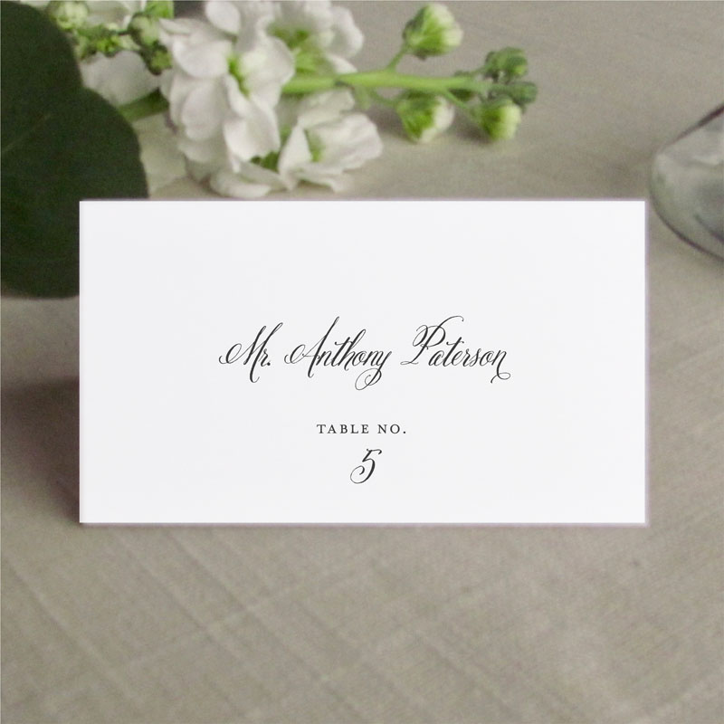 brushed script type place card