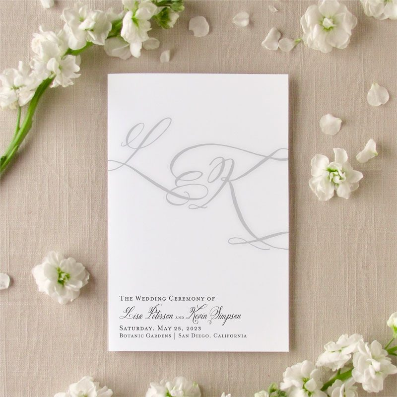Brushed Monogram Wedding Program Cover