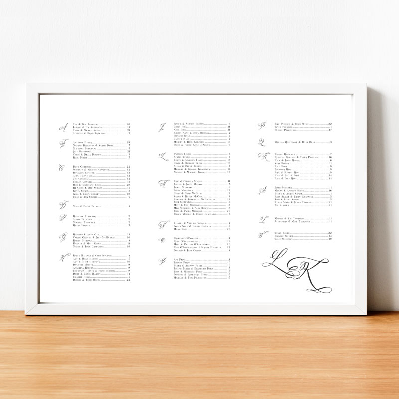 Alphabetical Seating Chart with Monogram