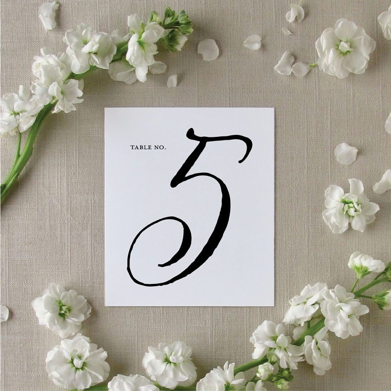 Brushed Script Type Table Numbers