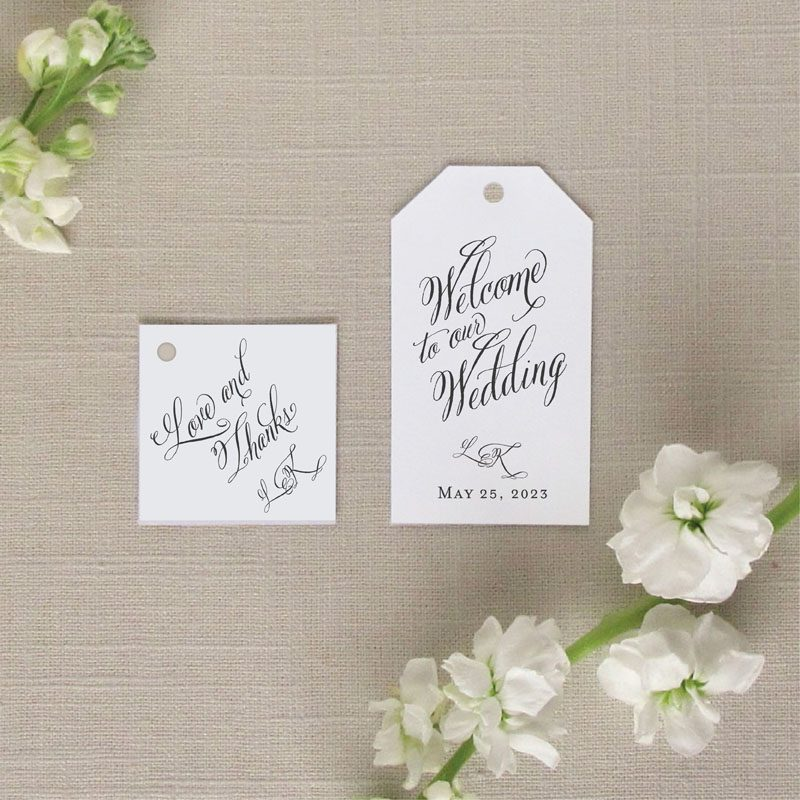 brushed monogram favor tags