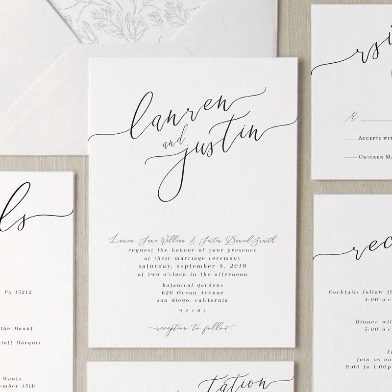 Cali Script Elegant Wedding Invitation