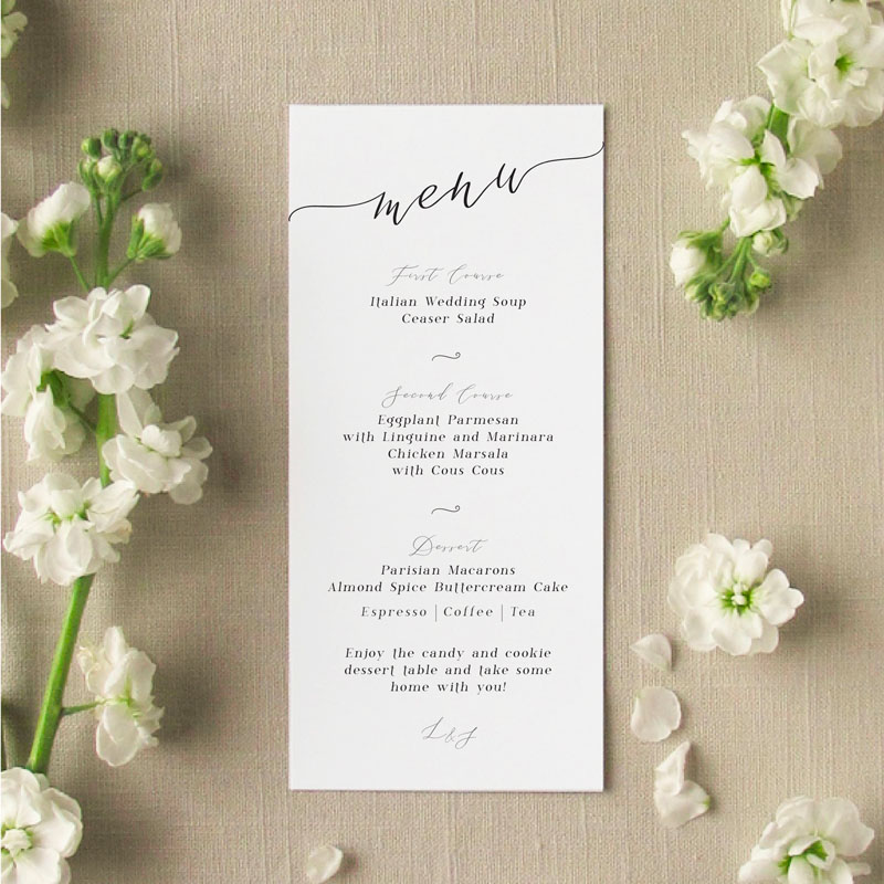 romantic type cali menu