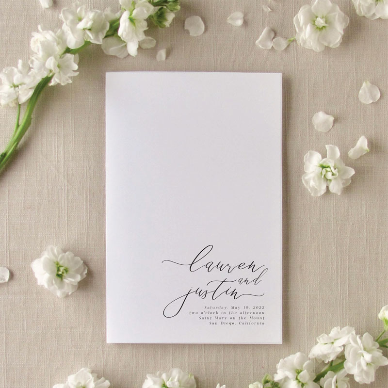 Cali elegant wedding program