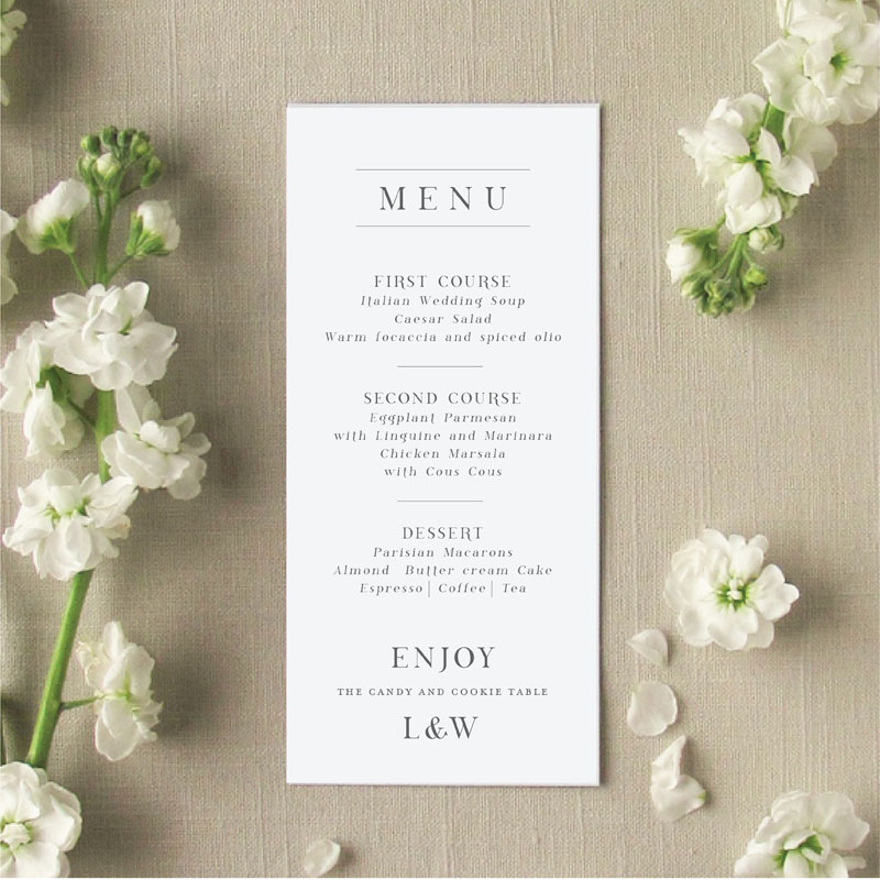 Charleston Wedding Menu Cards