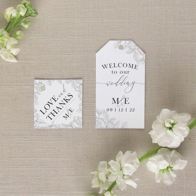Garden Floral wedding Favor Tags