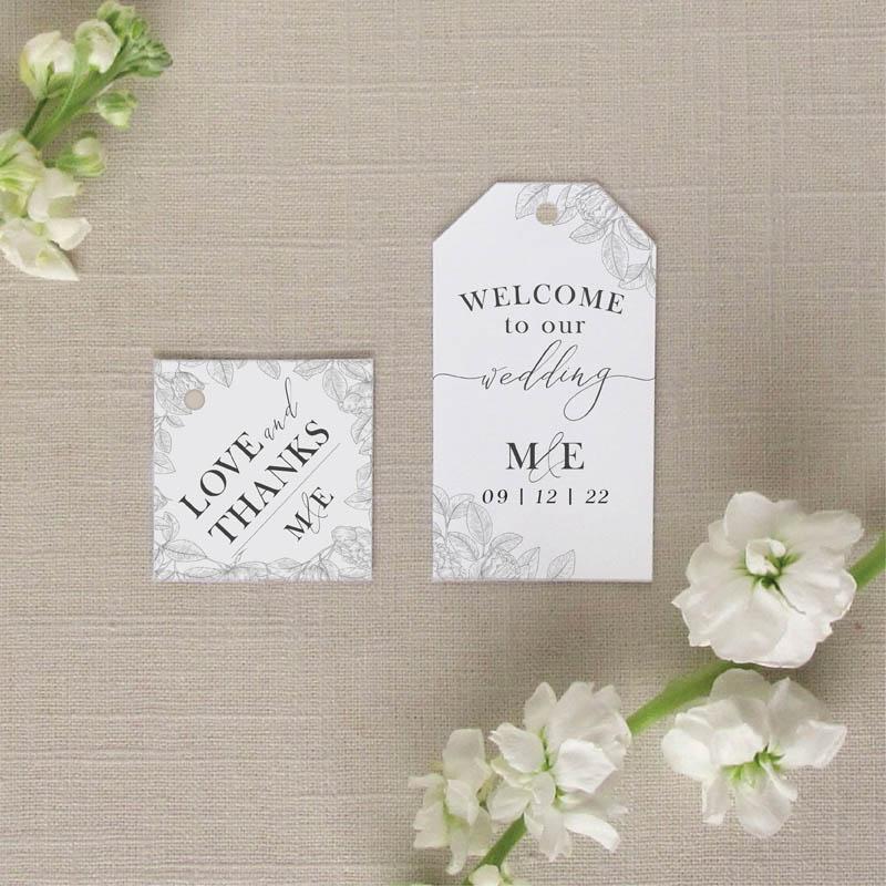 Garden Floral wedding Favor Tags