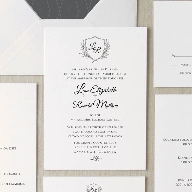 Grace Monogram Wedding Invitation Suite
