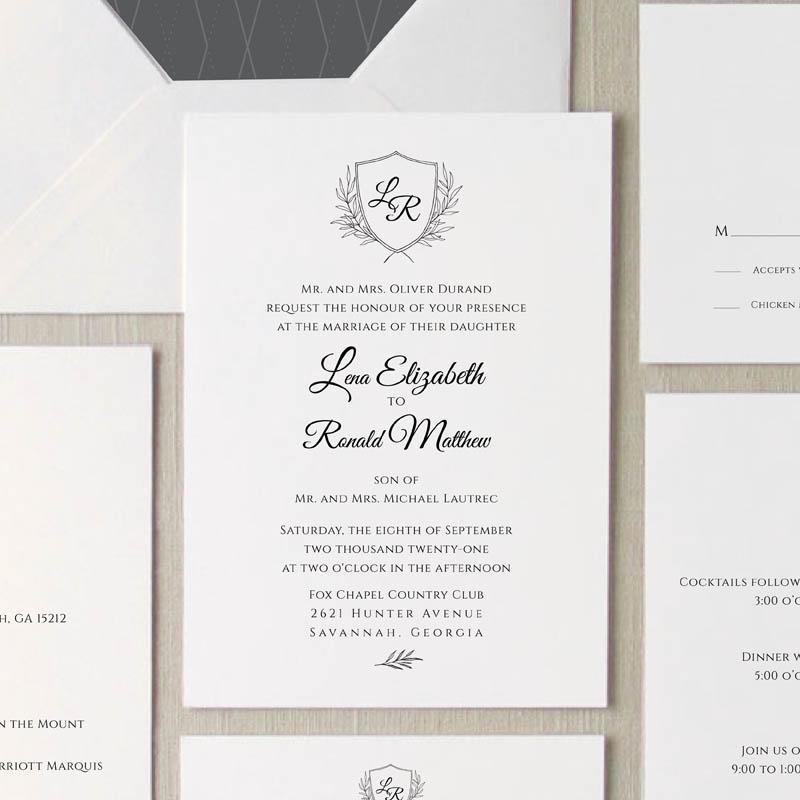 Grace Monogram Wedding Invitation Suite