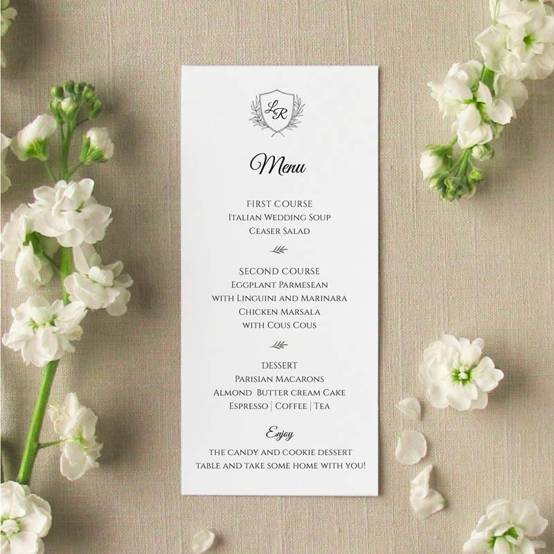 monogram dinner menu
