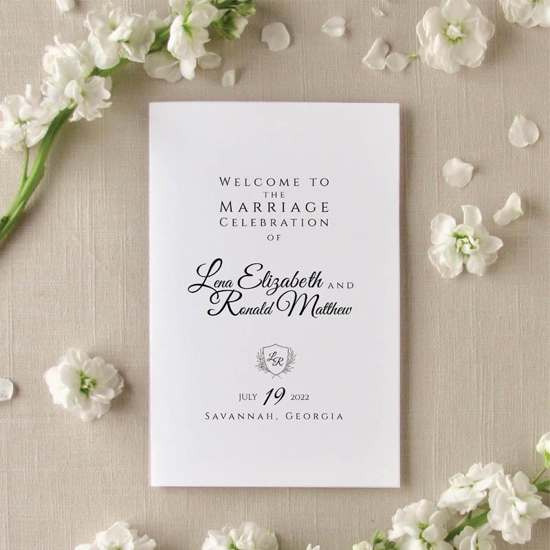 Folded Grace Monogram wedding program