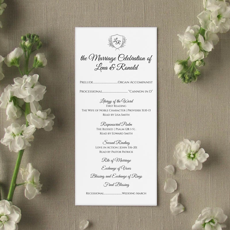 monogram slim wedding program