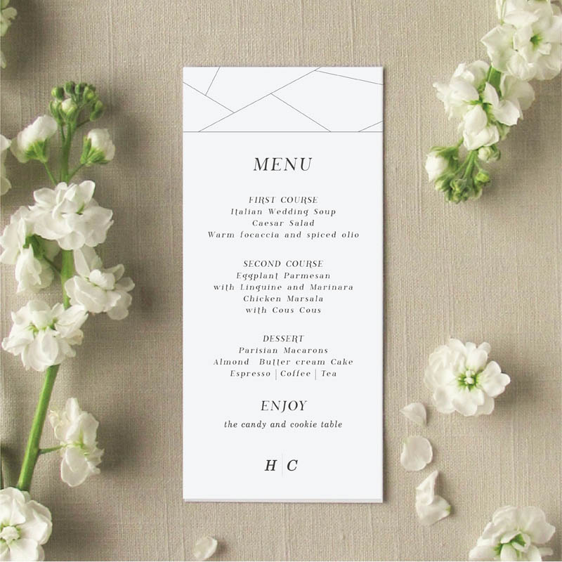 Off the Grid Geometric Wedding Menu Cards
