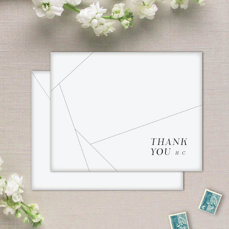 modern geometric off the grid thank you cards and envleopes