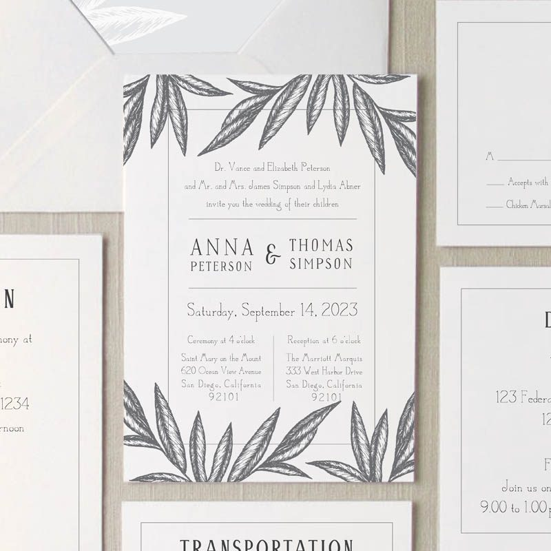 Palm leaves wedding invitation suite