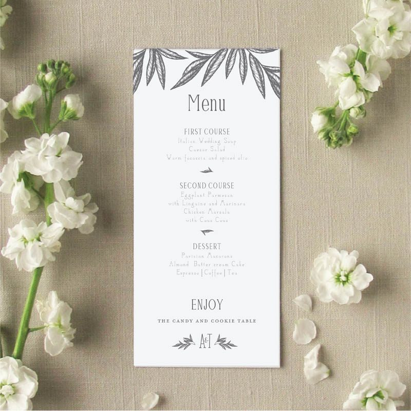 Palm leaves menu card