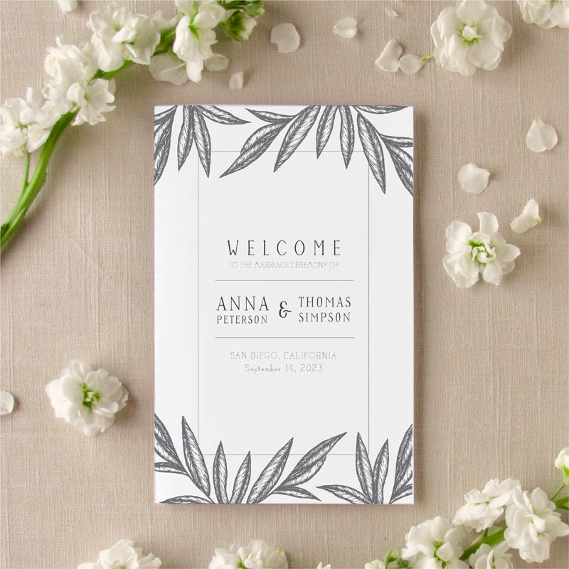 Palm Leaves wedding program cover
