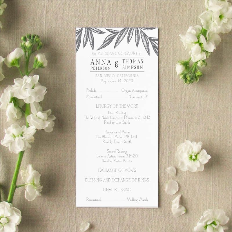 Palm Leave wedding program front