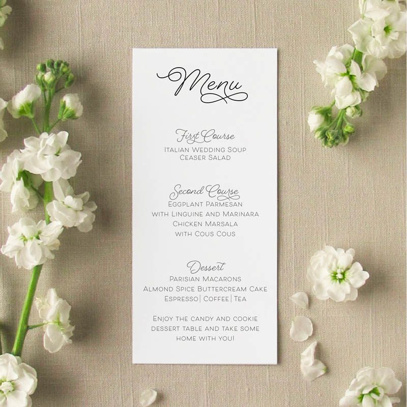 Sweet Pea Wedding Menu Card