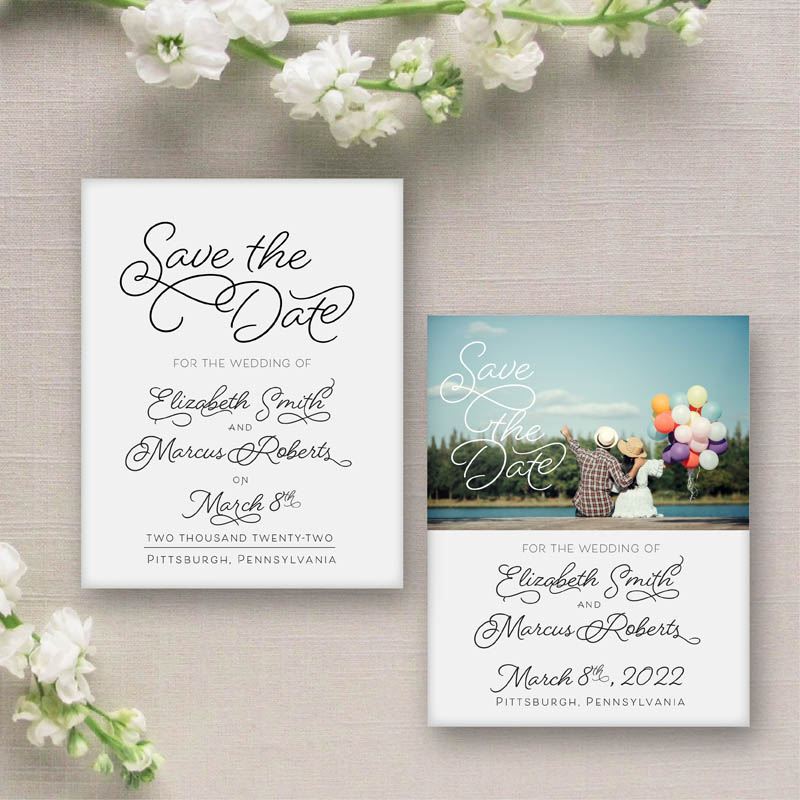 Sweet Pea Save the Date with or without picture