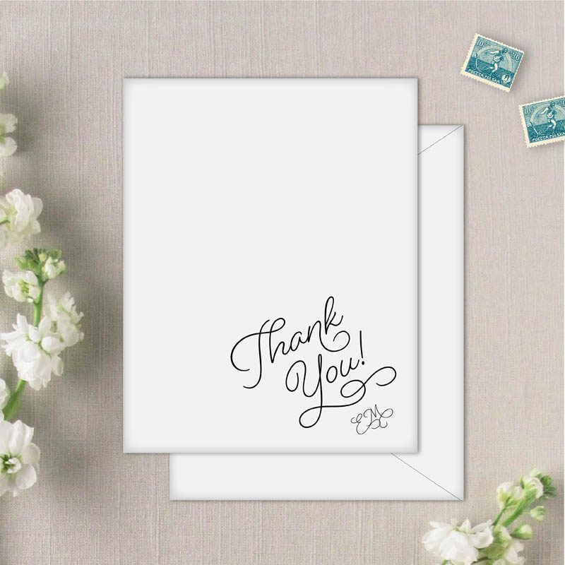 Sweet Pea Thank You Cards with monogram