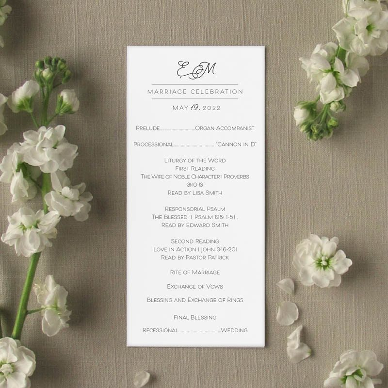 Sweet Pea wedding program slim